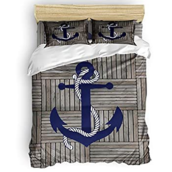 Image of Alandar Home Bedding Sets Duvet Cover 4 Pieces, Vintage Nautical Anchor Soft Bed Sheets Quilt Cover with 2 Pillowcases for Kids/Teens/Women/Men Bedroom Retro Wood Grain California King Home and Kitchen