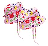 N'Ice Caps Kids and Baby SPF 50+ UV Protection Breathable Sun Hat - 2pc Pack (Neon Pink Flowers - 2 Pack, 52cm (20.5'') / 18-36mos)