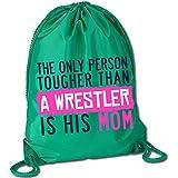 Tougher Than A Wrestler Mom Cinch Sack   Wrestling Bags by ChalkTalkSPORTS   Kelly Green