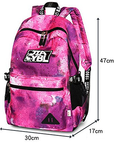 Bag Backpack Girls Red Bag Travel School Galaxy School Women Red T45xwqS0