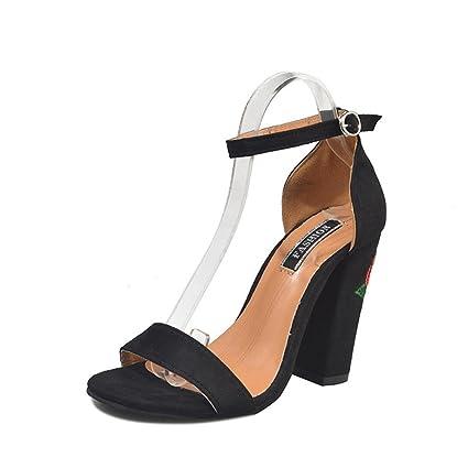 nero 39 EU Scarpe da Donna Sandali Piatto Sandali Col Tacco con Cinturino 14u