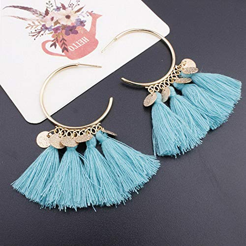 Rhame Fashion Women Bohemian Long Tassel Fringe Boho Ear Stud Dangle Earrings Jewelry | Model ERRNGS - 6294 | ()