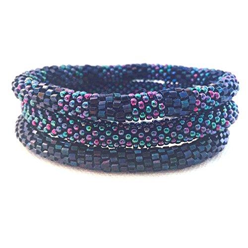 Metallic Blue Beaded Bracelet Set, Seed Beads,Nepal, MB27,Nepal