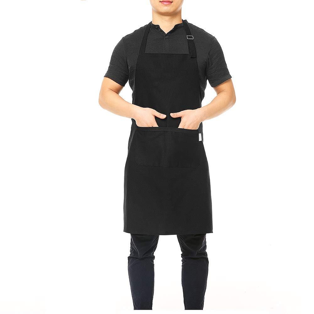 440d804dda69 ... BBQ Grembiule da Cucina Grembiule da Cameriere alla griglia con Fascia  per Collo Regolabile Vita Lunga Cravatta Due Tasche Frontali per chiunque ( Nero)