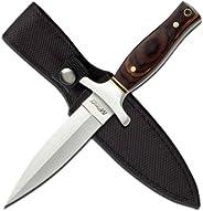 MTECH USA Faca de lâmina fixa MT-20-03, lâmina de borda dupla de titânio, cabo Pakkawood, total de 22 cm