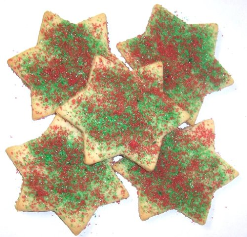 Scott's Cakes Red and Green Sugar Christmas Star Cookies in a 1 Pound Clear Cello Bag (Sugar Christmas Cookies)