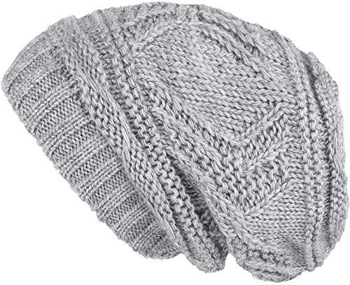 Lilax Knit Slouchy Oversized Soft Warm Winter Beanie Hat Light Gray