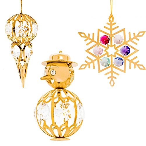 24K Gold Plated Crystal Studded Christmas Tree Ornaments Set Ornament by Matashi