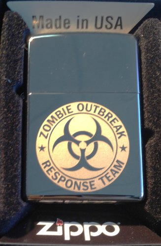 - Zippo Custom Lighter - Biohazard Toxic Seal Zombie Outbreak Response Team Logo Black ICE High Polish Chrome Rare!