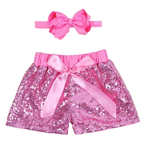 Baby Girls Shorts Kids Sparkle Toddler Sequin Shorts Glitter on Both Sides Birthday Outfits Headband Pink 3T