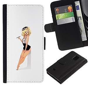 KLONGSHOP / Tirón de la caja Cartera de cuero con ranuras para tarjetas - Model Girl Babe Retro Legs - Samsung Galaxy S5 Mini, SM-G800, NOT S5 REGULAR!