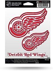 NHL Rico Industries Die Cut 3-Piece Triple Spirit Sticker Sheet, Detroit Red Wings, 5 x 7-inches