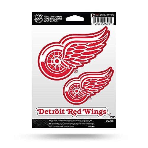 Rico Industries NHL Detroit Red Wings Die Cut 3-Piece Triple Spirit Sticker Sheet ()