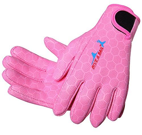 Micosuzaネオプレンダイビンググローブ1.5 MMアンチスリップフル指のスキューバダイビングシュノーケリング水泳サーフィンSailingカヤック B078N39YBF Small|ピンク ピンク Small