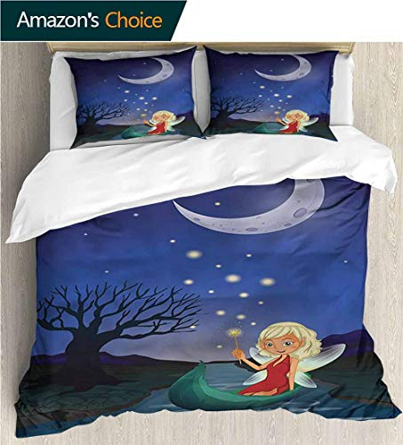 3 Piece Quilt Coverlet Bedspread,Box Stitched,Soft,Breathable,Hypoallergenic,Fade Resistant All Season Lightweight Colorblock Kids Bedding Set-Fantasy Elf Pixie Sitting On Boat (90