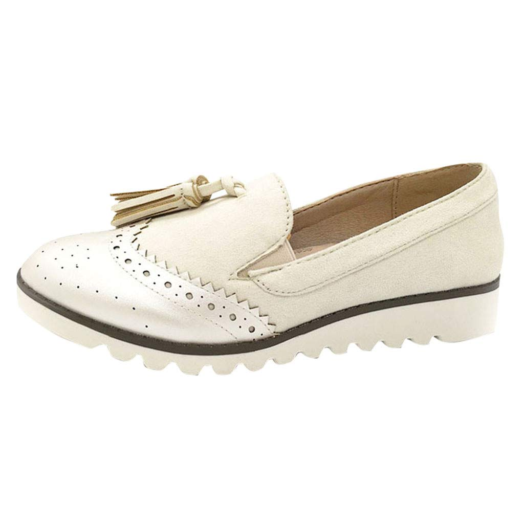 BSGSH Women's Retro Slip-On Pointy Tassel Penny Loafers Shoes Dress Casual Driving Flat Shoes (8 M US, White)