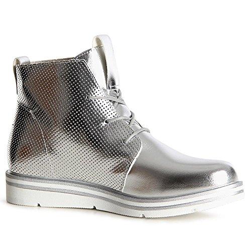 topschuhe24 1103 Damen Stiefeletten Boots Derby Silber
