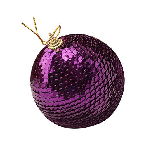 Unionm Christmas Home Decor Ball, 8cm Christmas Xmas Christmas Tree Decoration Ball Gift Box Light Ball Matt Ball Powder Ball Hollow Ball Christmas Ornaments (D, Purple) (Tree Q And B Xmas)
