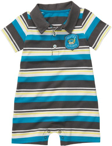 Carter's Baby Boys Polo-style Romper (3 Months, Blue/Grey)