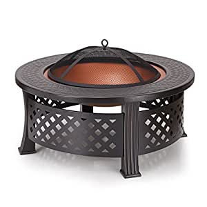 Homebeez round fire pit 31inch black for Amazon prime fire pit