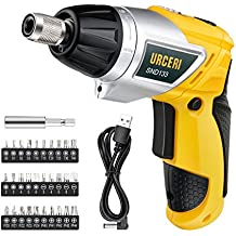 URCERI SND133 Electric Screwdriver 2000mAh Li-Ion Rechargeable Cordless Screw Gun with 6+1 Torque USB Charging Cable 30pcs Driver Bits LED Light, Yellow