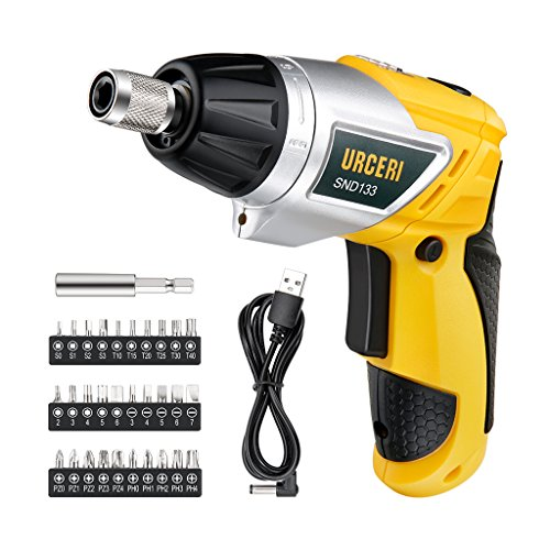 URCERI Lightweight Electric Screwdriver 2000mAh Li-Ion Rechargeable Cordless Screw Gun with 6+1 Torque USB Charging Cable 30pcs Driver Bits LED Light