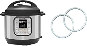 Instant Pot Duo 7-in-1 Electric Pressure Cooker, 8 Quart, 14 One-Touch Programs & Genuine Instant Pot Sealing Ring 2 Pack Clear 8 Quart