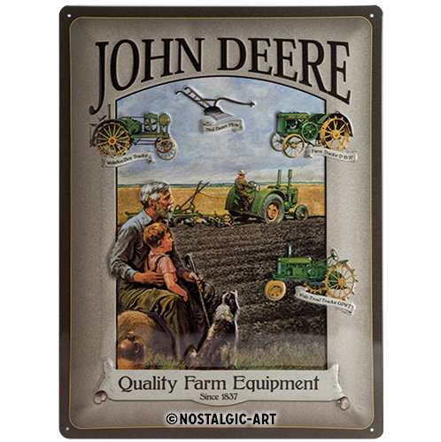 John Deere Man & Boy large embossed metal sign 4030