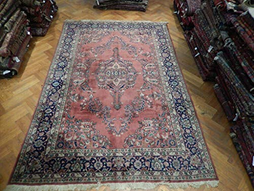 Sarouk Persian Rug 8x12 Red Salmon Rose Red Open Field Wool Handmade Rug ()