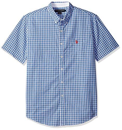 (U.S. Polo Assn. Men's Classic Fit Single Pocket Stripe, Plaid Print Sport Shirt, Spring Lake, M)