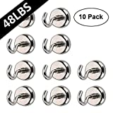 AUTIDEFY Magnetic Hooks,48 Pound Heavy Duty Strong Powerful Hanging Hooks(10 Pack)