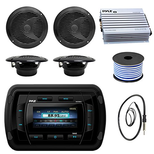 Pyle PATVR14 MP3 MP5 Bluetooth Marine Boat Yacht Stereo Receiver Bundle Combo With 4x Black 6-1/2