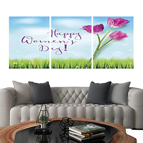 Pictures Paintings on Canvas WallHappy women day greetings card Pink tulips on the blue summer sky backdrop Green grass and white clouds Hand-drawn inscription Template for your invitation cover or