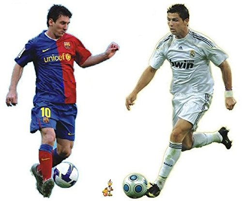 lassico Wall Decals = Ronaldo + Messi 2 Giant Wall Stickers for Kid's Playrooms and Soccer Fans ()