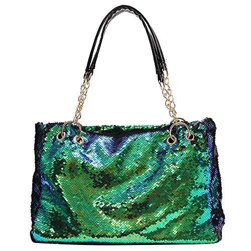 (QTKJ Fashion Two Tone Reversible Sequin Tote Bag Zipper Shoulder Bag with Chain and Leather Straps (Green))