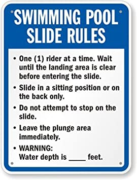 Piscina diapositiva reglas signo, signo de aluminio para uso ...