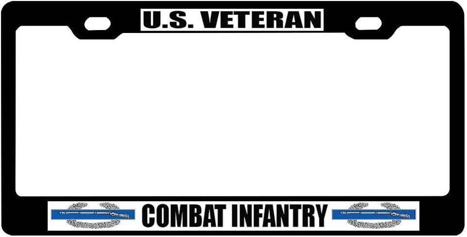 Vanity Military Pride Car Decor 2 Holes Durable Stainless Steel Frame with Screw Caps for US Vehicles AllCustom4U Black License Plate Frame for Veteran