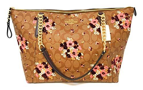 Coach New York Women's Ava Chain Tote Bag (Floral Velvet Khaki) F32118