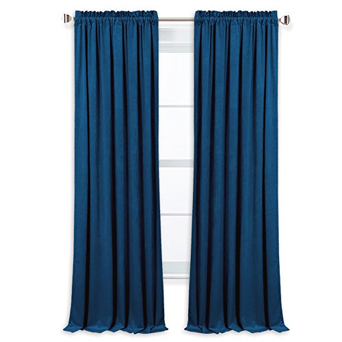 Cheap StangH Elegant Velvet Blackout Drapes – Super Soft and Smooth Window Treatment Curtains with Dual Rod Pocket Design for Stage Hall/Living Room, Royal Blue, 52″ W by 96″ L, 2 Panels