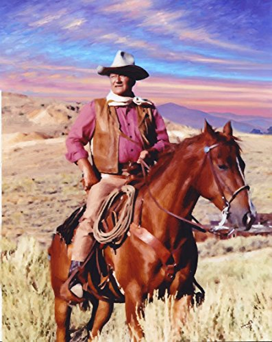 (3D Wall Art 11 x 14 On Metal John Wayne in The Comancheros Oil Painting by Peter Nowell)