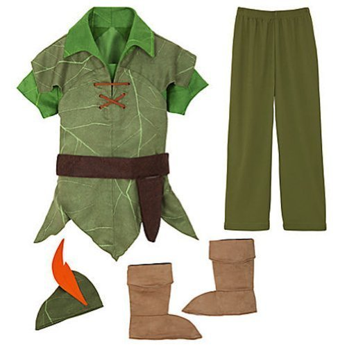 [Disney Peter Pan Costume Authentic [ 2 , 3 ] [ 4 ] [ 5 , 6 ] [ 7 , 8 ] [ 10 ] (XS 4 Extra Small)] (Captain Hook Costumes Disney)