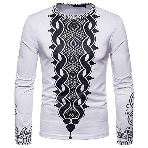 Toimothcn Men's Dashiki Tops African Ethnic Print Shirt Long Sleeve O-Neck Sweatshirt Pullover Top Blouse(White,XL) ()
