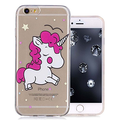 Aeeque iPhone 6 Slim Case, Durchsichtig Silikonhülle für iPhone 6S Generation, Kratzfeste TPU Klar Transaprent Flexibel Weich Bumper Back Case Cover Tasche Schön Muster - Rosa und blau Blumenmuster C- Rosa Einhorn