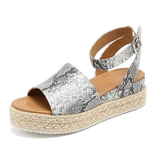 (MORNISN Espadrille Platform Sandals for Women Ankle Buckle Strap Open Toe Wedges Shoes Leopard Summer Sandals)
