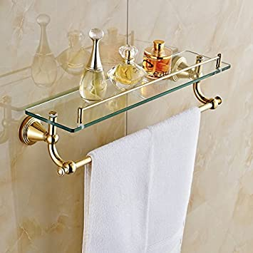 Gold Finish Bathroom Glass Shelf Wall Mount Cosmetic Holder With Towel Bar