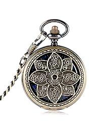 Lotus Flower Copper Pocket Watch for Women Men, Skeleton Mechanical Hand Winding Pocket Watch Xmas Gift