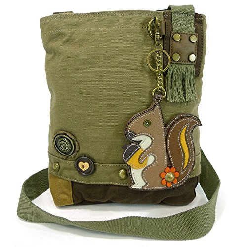 Chala Patch Crossbody Messenger Handbag - Olive (Squirrel)