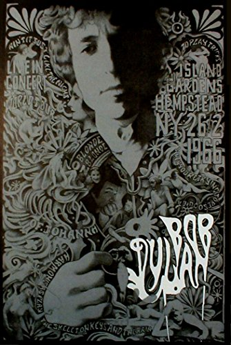 Bob Dylan Hempstead 1966 Retro Art Print — Poster Size — Print of Retro Concert Poster — Features Bob Dylan, Robbie Robertson, Rick Danko, Garth Hudson, Richard Manuel, and Mickey Jones.