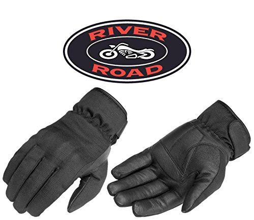 (River Road Ordeal Men's Touch Tec Cruiser Motorcycle Gloves - Black / Large)