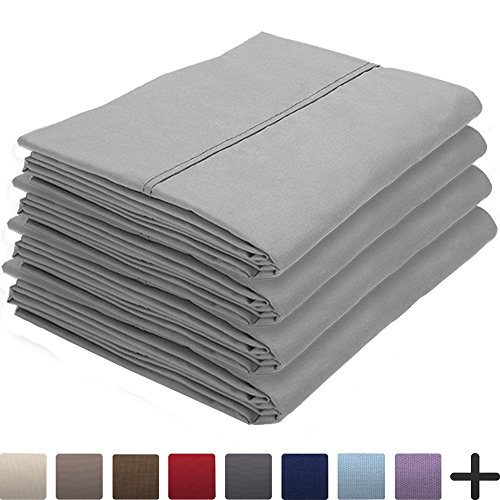 Bare Home 4 Pillowcases - Premium 1800 Ultra-Soft Collection - Bulk Pack - Double Brushed - Hypoallergenic - Wrinkle Resistant - Easy Care (Standard - 4 Pack, Light Grey) by Bare Home